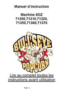 Picture of Instruction Manual for 8oz Popcorn machine 71300, 71310, 71320, 71350, 71360,71370